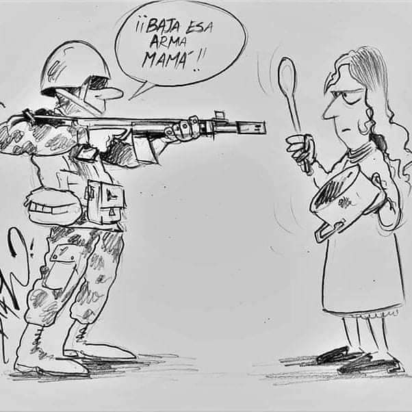 Karikatur »Runter mit der Waffe, Señora!«